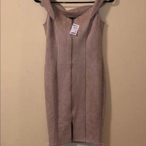AKIRA Taupe Off the Shoulder Zip Up Midi Dress